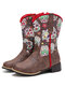 Women Retro Flower Printing Pointed Toe Zipper Mid-calf Cowboy Boots - Brown