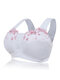 Plus Size G Cup Front Closure Embroidery Wireless Full Coverage Bras - White