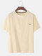 Mens Daisy Embroidered Cotton Linen Round Neck Casual Short Sleeve T-shirts - Beige