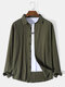 Mens Crinkle Solid Lapel Button Up Cotton Basics Long Sleeve Shirts - Army Green