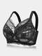 Women Lace Jacquard Underwire Gather See Through Thin Non Padded Bra - Black