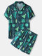 Mens Cactus Plant Print Lapel Drawstring Shorts Holiday Two Pieces Outfits - Green