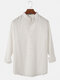 Mens Solid Color Cotton Breathable Casual Long Sleeve Henley Shirts - White