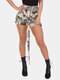 Camo Print Casual Belted Cargo Shorts With Pocket For Women - Camo