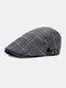 पुरुष वार्म प्लेड पैटर्न कैजुअल फॉरवर्ड हैट बैरिट हैट फ्लैट कैप रखें - काली