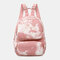 Women Oxford Anti theft Large Capacity Tie Dye Backpack Travel Bag - Pink