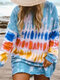 Casual Multi-Colored Printed O-neck Ovehead Long Sleeve T-Shirt For Women - Blue