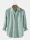 Mens Linen Basic Striped Print Brief Style Casual Fit Lapel Long Sleeve Shirts - Army Green