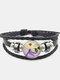 Vintage Dragonfly Calico Pattern Geometric-shape Hand-braided Beaded Glass PU Alloy Multi-layer Bracelet - #05