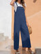 Solid Color Adjustable Button Strap Sleeveless Casual Jumpsuit With Pocket - Navy