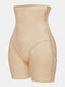 Plus Size Women Mesh Tummy Control Hip Lift Slimming Shaping High Waisted Panty Shapewear - Nude