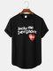 メンズコットンスローガンハートプリントカーブドヘムスポーツスタイル半袖Tシャツ - 黒