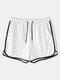 Plain Swim Shorts with Pockets Drawstring Loose Recycled Jogging Pants for Men - White