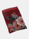 Women Cotton Linen Vintage Calico Print Dual-use Thin Casual Shawl Scarf - Wine Red