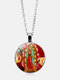 Vintage Virgin Mary And Child Necklace Alloy Glass Printed Pendant Women Necklace - #03