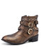 Women Large Size Fashion Buckle Metal Rivet Motorcycle Boots - Brown