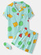 Plus Size Women Geometry Print Revere Collar Pajamas Sets With Eye Cover - Green