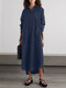 Solid Color Long Sleeve Lapel Collar Asymmetrical Casual Dress For Women - Navy