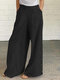 Solid Color Button Casual Pants With Pocket For Women - Black