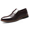 Large Size Men Stylish Cap Toe Slip On Formal Dress Shoes - Brown