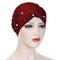 Womens Vintage Tie Bead Beanie Cap Casual Milk Silk Soft Solid Bonnet Hat Headpiece - Red wine