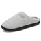 Men Comfy Knitted Fabric Non Slip Soft Warm Home Cotton Slippers - Gray