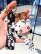 Resin Alloy Cartoon Cute Cow Keychain Charms - Black
