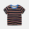 Boy's Striped Print Short Sleeve Casual T-shirt For 1-8Y - Black