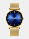 Alloy Business Gradient Color Multi-function Mesh Strap Watch - Gold+Blue