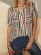 Striped Patchwork Stand Collar Button Short Sleeve Blouse - Green