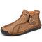 Men Hand Stitching Microfiber Leather Non Slip Soft Ankle Boots - Khaki