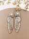 Vintage S925 Sterling Silver Butterfly Long Cicada Wings Gradient Earrings - 37
