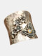 Alloy Vintage Stylish Butterfly Flower Diamond Ring - Silver
