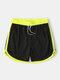 Mesh Colorblock Quickly Dry Swim Trunks Drawstring Gym Running Sports Shorts With Pockets - Black