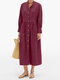 Solid Color Button Long Sleeves Casual Dresses for Women - Wine Red