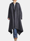 Solid Color Button Asymmetrical Hem Long Sleeve Casual Hooded Coat - Gray