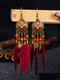 Alloy Vintage Bohemia Round Oil Painting Long Fringed Tassel Feather Earrings - Wine Red