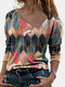 Women Geometry Print Long Sleeve Multi-Color Casual Blouse - Red
