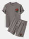 Mens Basic Knitted Rose Embroidery Patch Short Sleeve Casual Two Piece Outfits Cozy Loungewear - Khaki