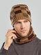 Men 2PCS Plaid Plus Velvet Thick Winter Outdoor Keep Warm Neck Protection Headgear Scarf Knitted Hat Beanie - Khaki