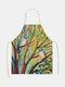 木と鳥の絵のパターンのクリーニングColorfulエプロン家庭料理キッチンエプロンクックウェアコットンリネン大人のよだれかけ - #09