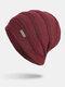 Men Winter Plus Velvet Striped Pattern Outdoor Knitted Warm Beanie Hat - Wine Red