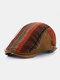 Men British Style Retro Stripe Pattern Casual Keep Warm Forward Hat Beret Hat - Orange