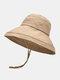 Women Cotton And Linen Solid Color Big Brim Sun Protection Bucket Hat - Khaki