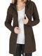 Cappotto di taglia Plus con cerniera con coulisse in tinta unita casual - Marrone