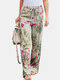Floral Printed Elastic Waist Straight-Legged Pants For Women - Red