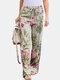 Floral bedruckte Hose mit elastischer Taille und geraden Beinen für Damen - rot