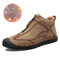 Men Hand Stiching Zipper Microfiber Leather Comfortable Outdoor Casual Shoes - Beige Cotton Lining