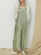 Solid Color Sleeveless Loose Jumpsuit For Women - Light Green
