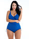Plus Size Front Twisted Swimwear Drawstring Solid Color Blue Bathing Suits Women By Newchic